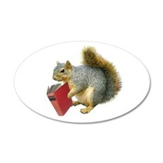 Squirrel with Book 22x14 Oval Wall Peel
