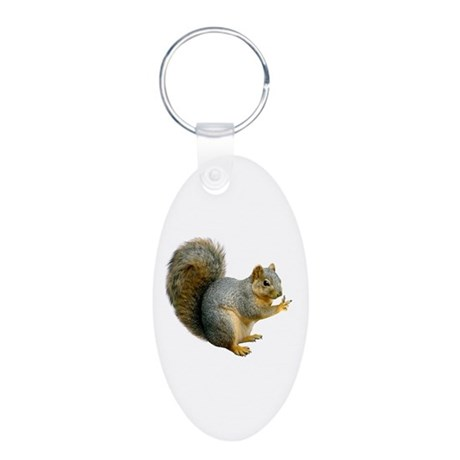 Peace Squirrel Aluminum Oval Keychain