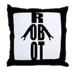 Typographic Robot Throw Pillow