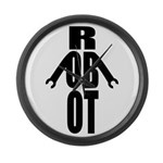Typographic Robot Large Wall Clock