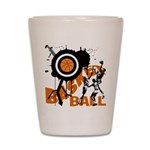 Grunge Basketball Shot Glass