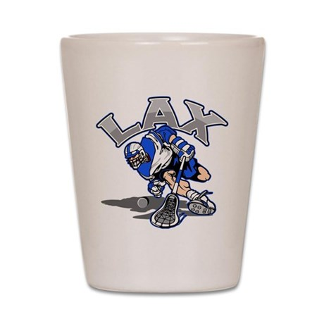 Lacrosse Player In Blue Shot Glass