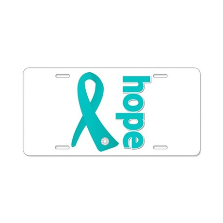 Hope Ribbon Ovarian Cancer Aluminum License Plate