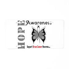 BrainCancer HopeButterfly Aluminum License Plate