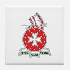 DUI - 1st Bn - 14th FA Regt with Text Tile Coaster
