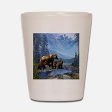 Mountain Grizzly Bears Shot Glass