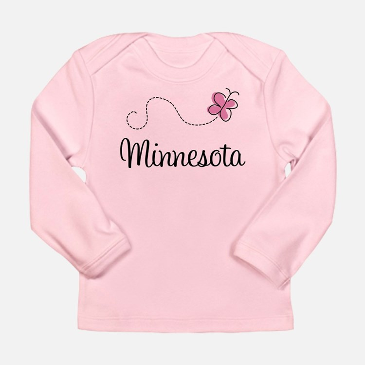 Minnesota Pink Butterfly Long Sleeve Infant T-Shir