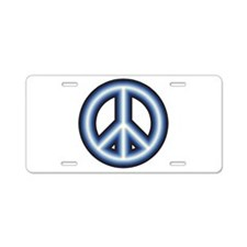 Blue Peace Sign Aluminum License Plate