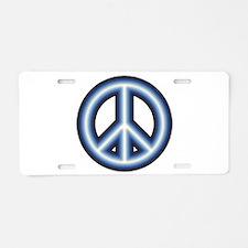 Blue Peace Sign Aluminum License Plate