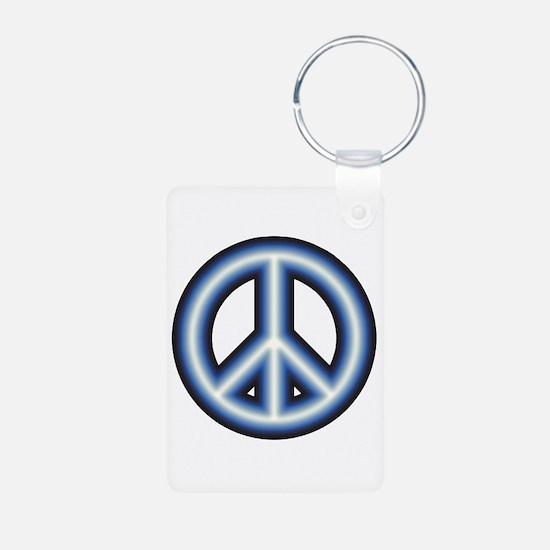 Blue Peace Symbol Keychains