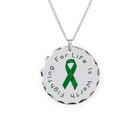 Green Ribbon - Survivor Necklace Circle Charm