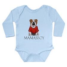 Mamas Boy Bulldog Long Sleeve Infant Bodysuit