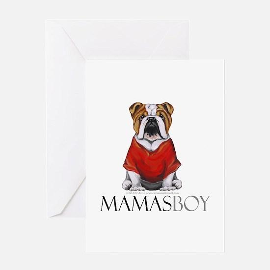 Mamas Boy Bulldog Greeting Card