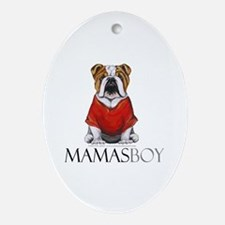 Mamas Boy Bulldog Ornament (Oval)
