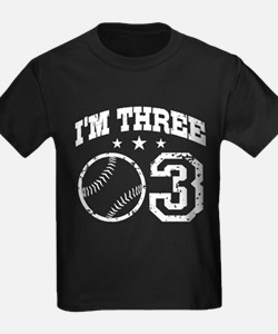 Three Year Old Baseball T