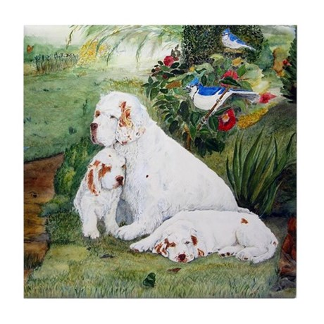Clumbers in the Garden Tile Coaster