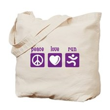 Peace/Love/Run Tote Bag