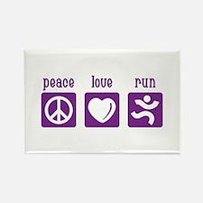 Peace/Love/Run Rectangle Magnet