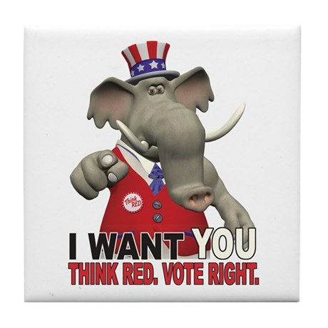I Want You. Think Red. Tile Coaster