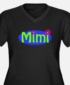 Bright Mimi Women's Plus Size V-Neck Dark T-Shirt