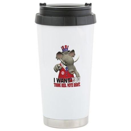 I Want You. Think Red. Stainless Steel Travel Mug