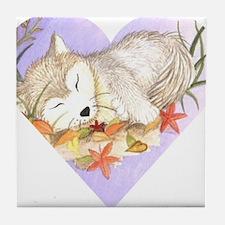 Little wolf sleeping Tile Coaster