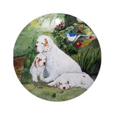 Clumbers in the Garden Ornament (Round)
