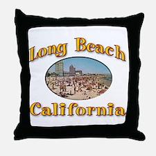 Vintage Long Beach Throw Pillow