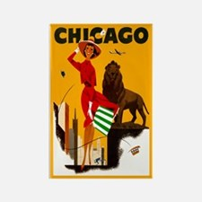 Vintage Chicago Travel Rectangle Magnet (10 pack)