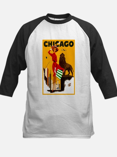 Vintage Chicago Travel Kids Baseball Jersey