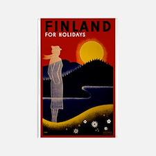 Vintage Finland Travel Rectangle Magnet