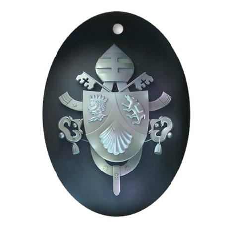Silver Benedict Coat of Arms : Oval Ornament