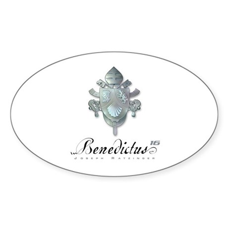 Silver Benedict Coat of Arms : Oval Sticker