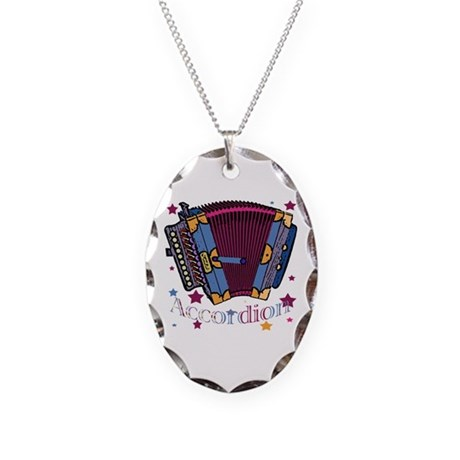 Accordion Necklace Oval Charm