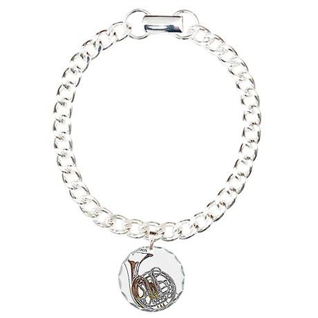 French Horn Charm Bracelet, One Charm