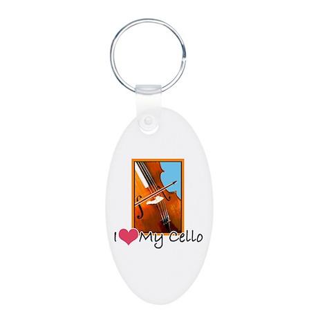 I Heart My Cello Aluminum Oval Keychain