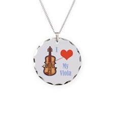 I Love My Viola Necklace Circle Charm