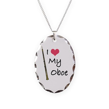 I Love My Oboe Necklace Oval Charm