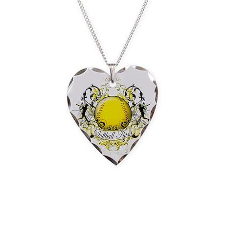Softball Aunt Necklace Heart Charm
