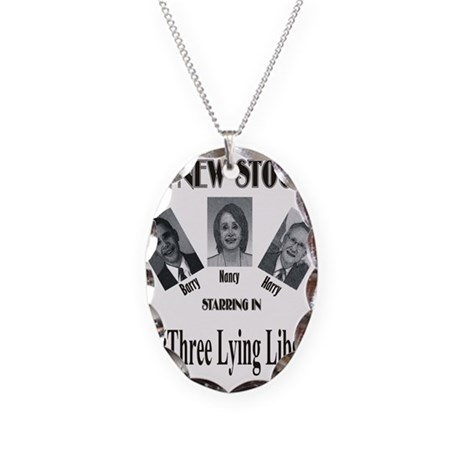 New Stooges: Lying Libs Necklace Oval Charm