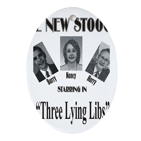 New Stooges: Lying Libs Ornament (Oval)