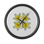 White daffodils Large Wall Clock