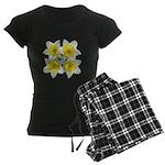 White daffodils Women's Dark Pajamas