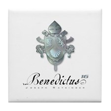 Silver Benedict Coat of Arms : Tile Coaster