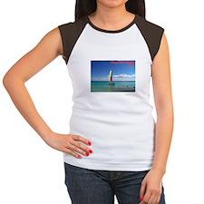 Playa del Carmen, MX Sailboat Women's Cap Sleeve T