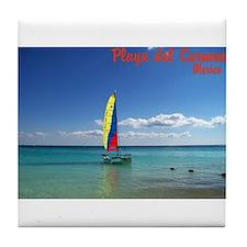 Playa del Carmen, MX Sailboat Tile Coaster