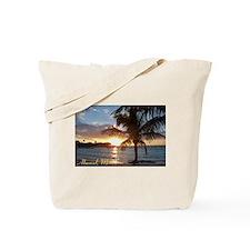 Akumal Sunrise - Palm Tree, Y Tote Bag