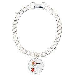 Santa Girl Martini Charm Bracelet, One Charm