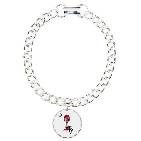 Garnet & Black Wino Charm Bracelet, One Charm