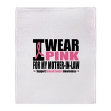 I Wear Pink Ribbon Throw Blanket